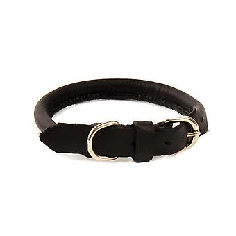 Dapper Dogs Hand Crafted Round Leather Collar for Dogs Puppy, Black