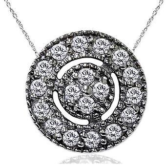 1/4ct Diamond Pave Halo Pendant 14K Black Gold Womens Necklace & 18