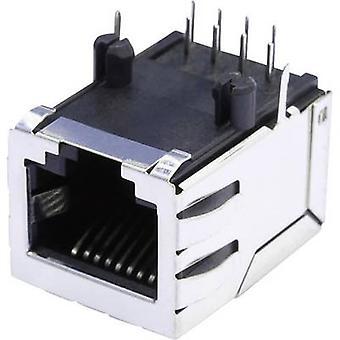 Modüler monte li soket kalkanlı kalkanlı soket soket, yatay montaj Pim sayısı: 8P8C SS64800-056F Nikel kaplı, Metal BEL Stewart Konektörleri