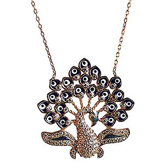 Peacock Enamel Rose Gold plated silver necklace