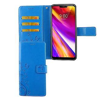 Omslaget LG G7 ThinQ mobila case väska Flip case-korthållaren blå