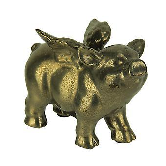 Antiqued Metallic Gold Ceramic Flying Pig Statue