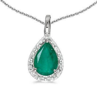 LXR 14k White Gold Pear Emerald Pendant 0.62 ct