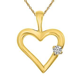 LXR 14K gul guld diamant hjerte vedhæng