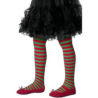 Stripete Tights Childs Red & Green, barna Tights alderen 8-12