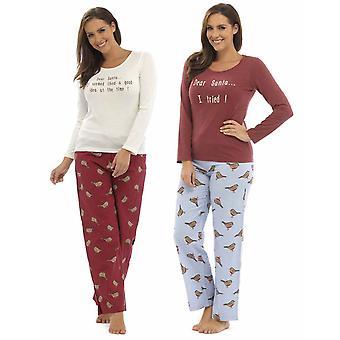 2 pack damer Foxbury Robin Xmas Print vinter længe Pyjamas nattøj