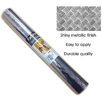 Metallic Fablon Vinyl Shiny Self Adhesive Sticky Back Silver Durable Criss Cross
