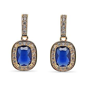 Ah! Jewellery Sapphire Cushion Crystal from Swarovski Earrings
