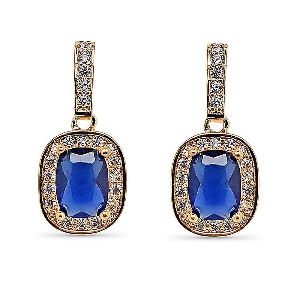 Ah! Jewellery Sapphire Cushion Crystal from Swarovski Earrings