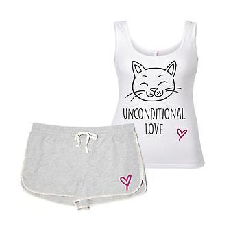 Mačka bezpodmienečná láska šedá a biela pyžamo