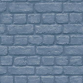 Urban Brick efecto azul Wallpaper relieve industrial metálico metalizado plata
