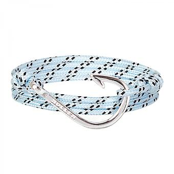 Holler Kirby  Silver Polished Hook / Light Blue, Black and White Paracord Bracelet HLB-04SRP-P18