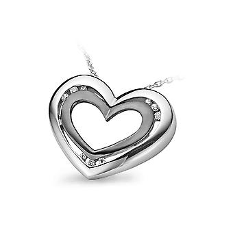 PENDANT WITH CHAIN DOUBLE HEART 925 SILVER BLACK AND WHITE ZIRCONIUM