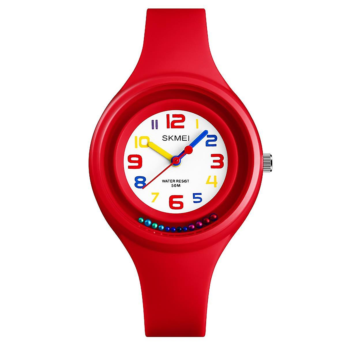 SKMEI Blue Analogue Kids Watch Clear Display Numbers Colours First Watch Rotating Beads Cute Watch Perfect For Ages 5+