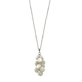 Evig samling Moonglow AAA Coin perle Sterling sølv klynge lenge anheng halskjede