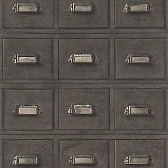 Rasch hout kabinet lades patroon behang Vintage realistische faux effect 524017