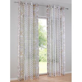 Heine home Set Curtain Decostore printed offwhite/taupe HxW 245x140 cm