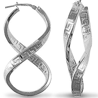Jewelco London Rhodium Coated Sterling Silver Greek Key fig. of eight  Hoop Earrings - Ladies