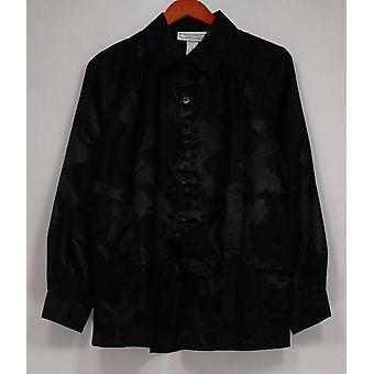Simonton diz impresso manga comprida botão para baixo camisa preta top A85581