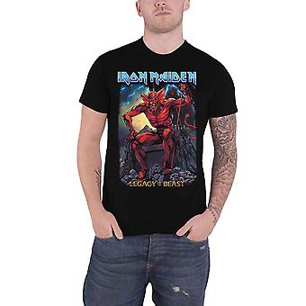Iron Maiden camiseta legado da besta Devil Band logo novo oficial Mens Black