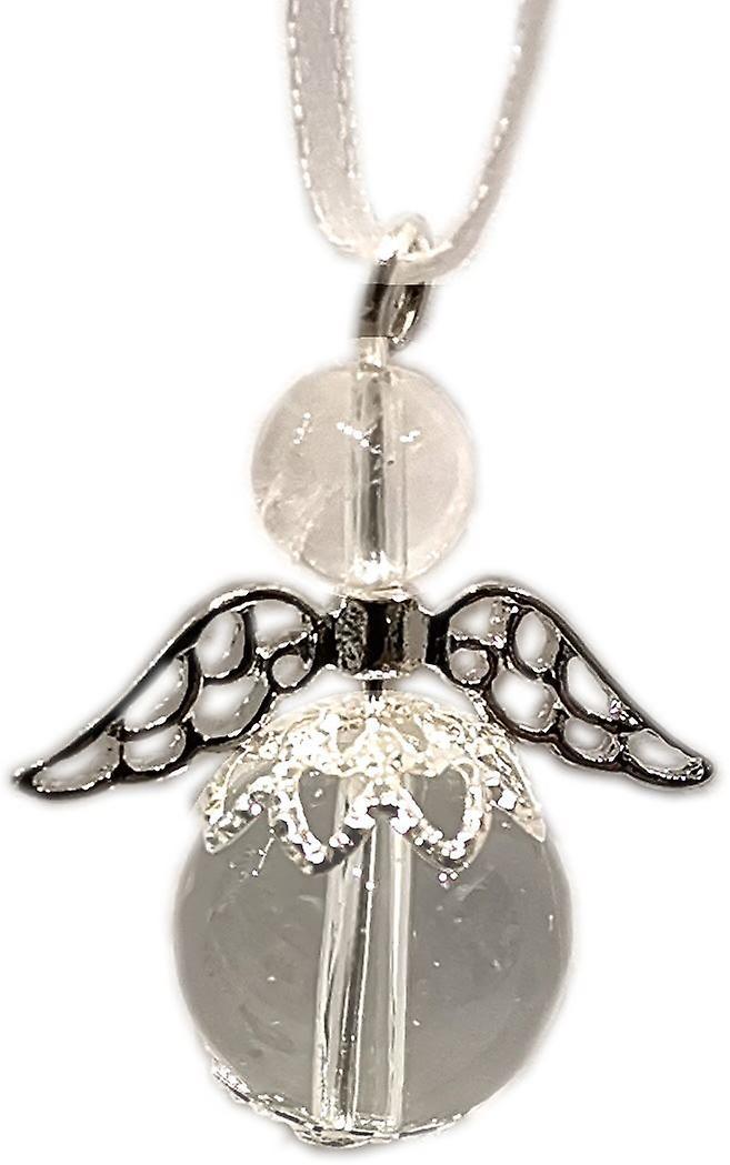 Nyleve Designs handmade Hanging Semi-precious Clear Quartz Gemstone Guardian Angel in Silver Plated