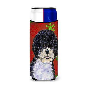 Portuguese Water Dog Red Green Snowflake Christmas Ultra Beverage Insulators for