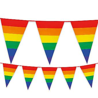 Rainbow Plastic Bunting 8m Long Gay Pride Festival Carnival Summer Garden Party Decoration