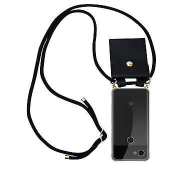 Cadorabo telefonkjede tilfelle for Google Pixel 3a XL tilfelle deksel - silikon halskjede cape cover med gull ringer - ledningsbånd ledning og flyttbar tilfelle beskyttende deksel
