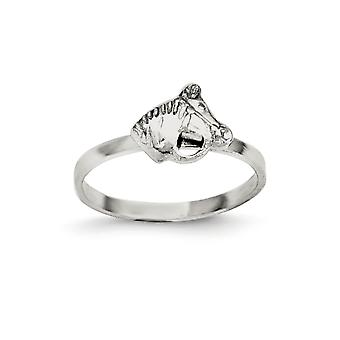 925 Sterling Silver Textured Rh Plated for boys or girls Polished Horse Ring - Ring Size: 3 to 4