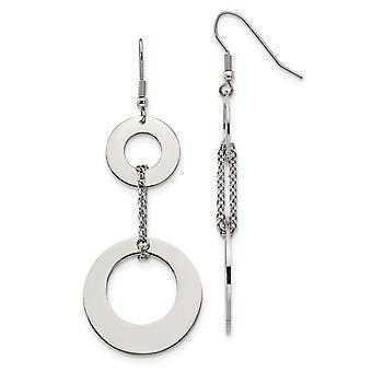 Rustfrit stål Shepherd krog poleret cirkler Long Drop Dingle Øreringe smykker Gaver til kvinder