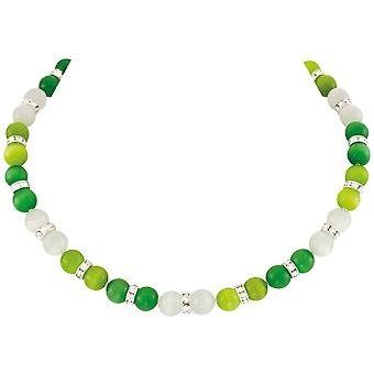 Eternal Collection Vaudeville Green And White Cat's Eye Silver Tone Beaded Necklace