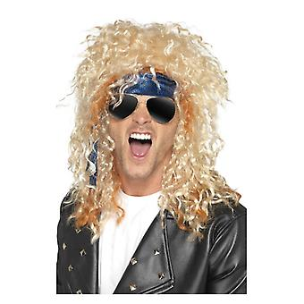 Heavy Metal Rocker Kit, Blonde, met pruik, glazen & Bandana Fancy Dress accessoire