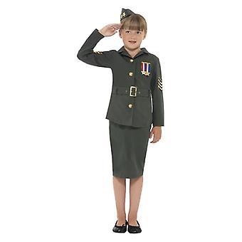 Meisjes WW2 Army Girl Fancy Dress kostuum