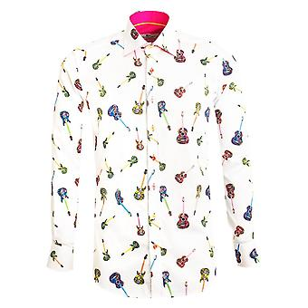 Claudio Lugli Psychadelic Guitars Patterned Print Mens Shirt