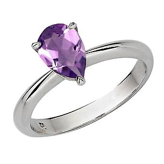 Dazzlingrock Collection 10K 9X7 MM Pear Cut Amethyst Ladies Solitaire Bridal Engagement Ring, White Gold