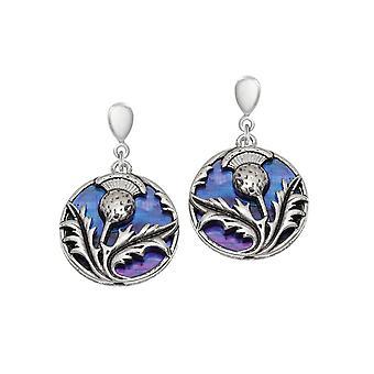 Eeuwige collectie Thistle paarse Paua shell zilveren Toon drop schroef terug clip op oorbellen