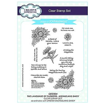 Creative Expressions John Lockwood's Language of Flowers A5 Clear Stamp Set - CEC834 Michaelmas Daisy