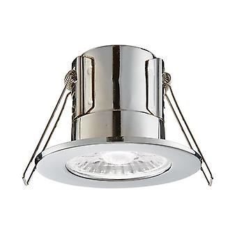 Saxby Lighting Shieldeco Fire Rated Integrated LED Bathroom Recessed Light Chrome Plate, Acrylic IP65 74032
