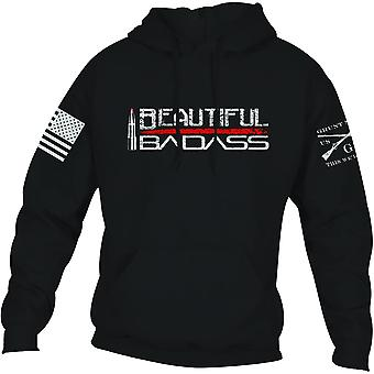 Grunt Style Women's Relaxed Fit Beautiful Badass 2.0 Pullover Hoodie - Black