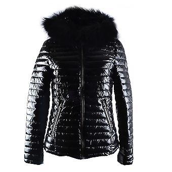 Oakwood Women's Jolia Black Nylon Fur Trim Jacket