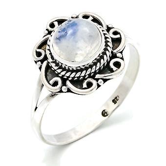 Ring Silver 925 Sterling Silver Rainbow Moonstone White Stone (Nr: MR1