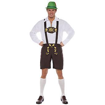 Lederhosen Classic Oktoberfest Alpine German Bavarian Adult Mens Costume OS