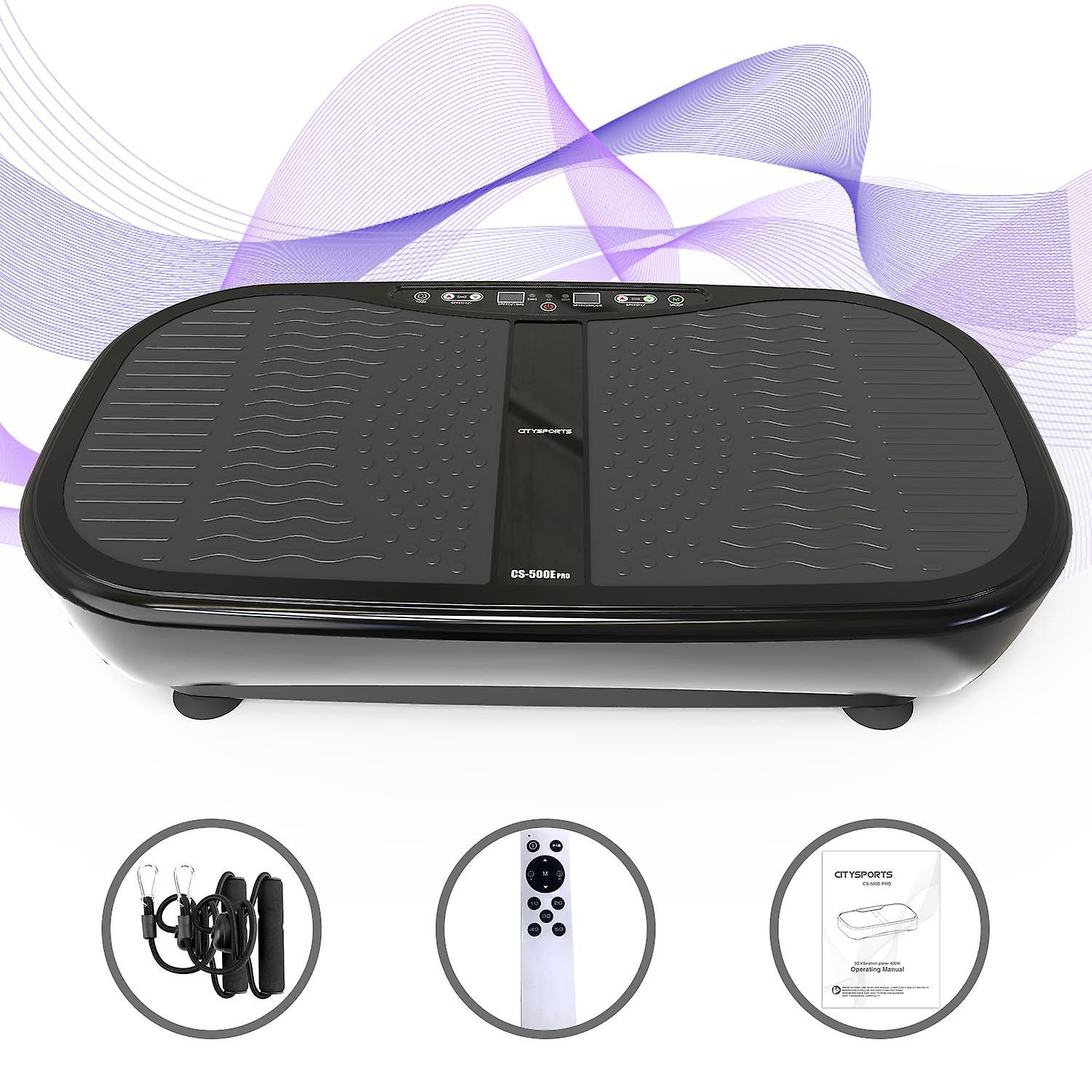 Vibration Plate, 3D Slim Vibrating Power Machine, with Remote Control and Resistance Bands, 5 Auto Modes, 1-60 Speed Setting, 400W Motor
