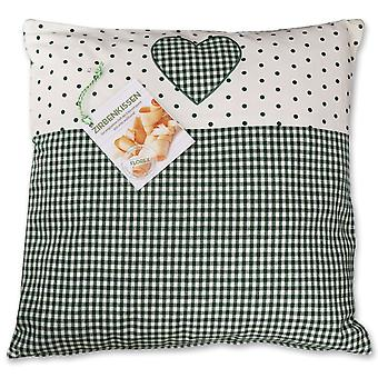Florex pine cushion country house style with heart motif green filled with pine shavings 40x40 cm