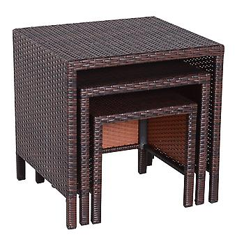 Outsunny Rattan Garden Furniture 3 PCs Nest of Tables Patio Outdoor End Side Table Wicker Conservatory