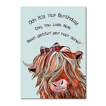 Embroidered Originals Och Its Yer Birthday - Highland Coo Tartan Bow