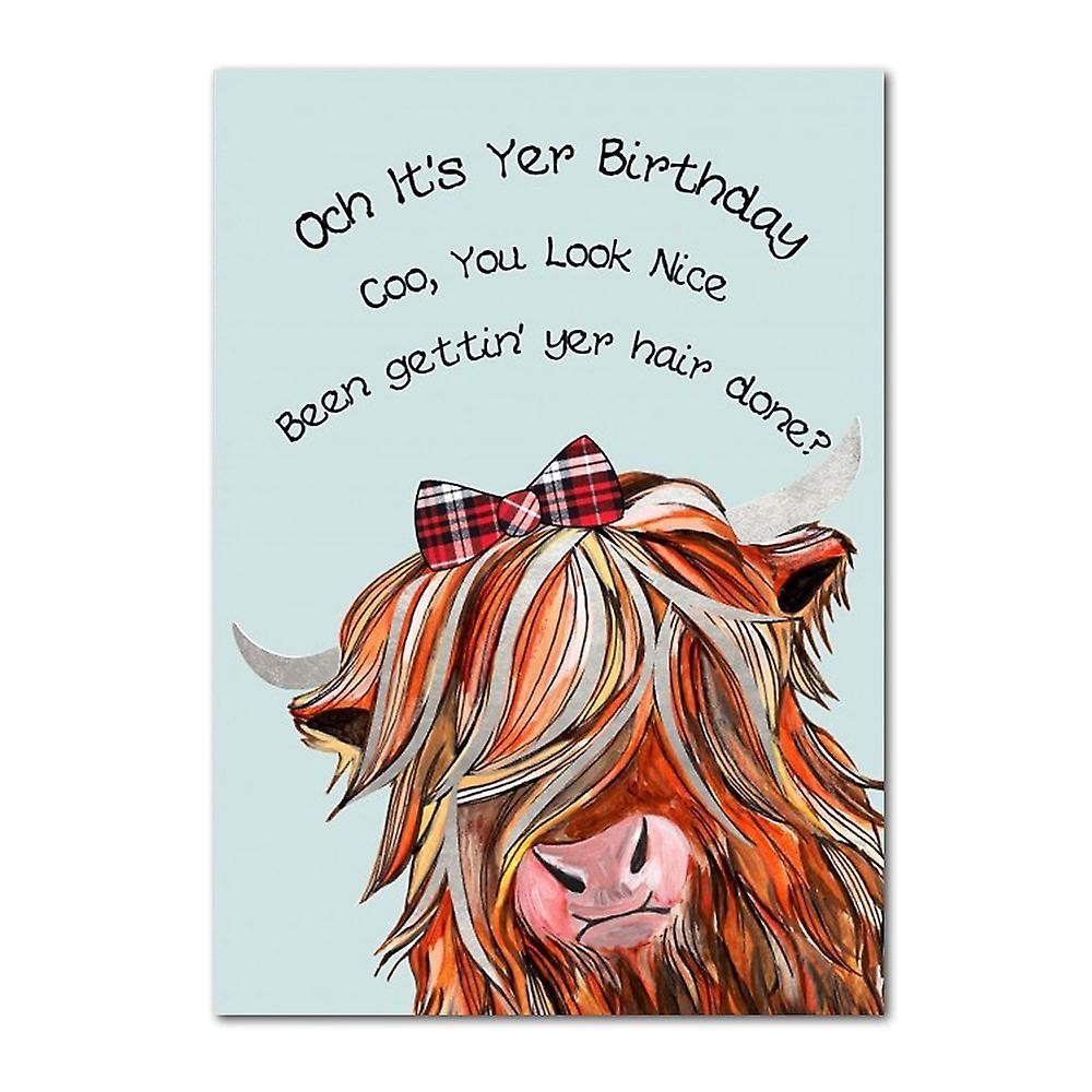 Embroidered Originals Och Its Yer Birthday - Highland Coo Tartan Bow