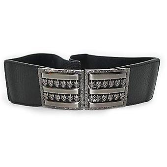 Leder elastisch / dehnbar breites Rechteck Schädel Clip-Ons schwarz Taille Gürtel