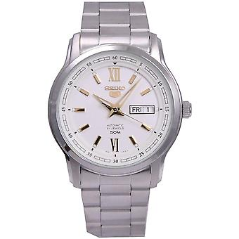 Seiko 5 Automatic White Dial Silver Stainless Steel Men's Watch SNKP15K1