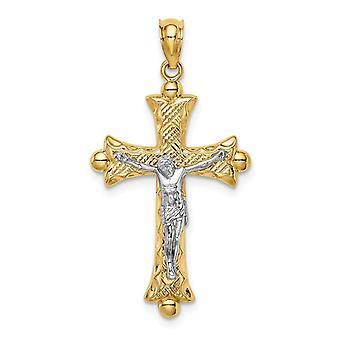 14k Deux tonalités Or Florentine Crucifix Bijoux Cadeaux pour les Femmes - 1.5 Grammes